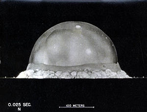 "1945 ""Trinity"" nuclear fireball begins to vaporize the desert landscape near Alamogordo, New Mexico, photographed by Berlyn Brixner - Click for larger image (http://jamesmcgillis.com)"