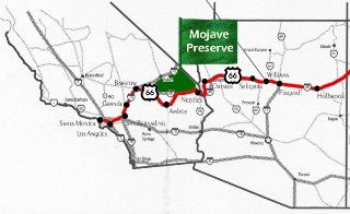 Old Route 66 Map, featuring the Mojave National Preserve (http://jamesmcgillis.com)