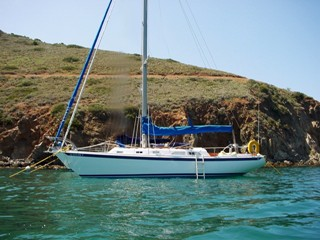 Sailing yacht WindSong at Catalina Island, California