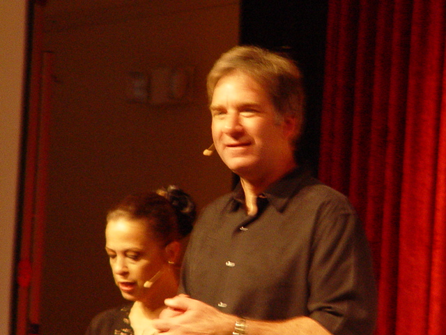 Geoffrey Hoppe & wife Linda Benyo, on stage at the 2007 Quantum Leap Celebration, Taos, New Mexico