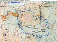 2005 watershed boundary map of the Little Colorado River Basin, including Navajo and Hopi Indian reservations in Arizona and New Mexico - Click for larger image (http://jamesmcgillis.com)