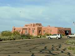 A former Harvey House, the Painted Desert Inn at Petrified Forest National Park, Arizona displays a natural color scheme appropriate to its colorful Southwestern desert location - Click for larger image (http://jamesmcgillis.com)