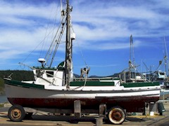 Fishing vessel on a dolly at Port Orford, OR - Click for larger image (http://jamesmcgillis.com)