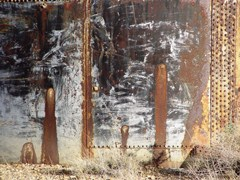 Rust stains on the side of an abandoned water tank create an abstract image of a forest long forgotten - Click for larger image (https://jamesmcgillis.com)