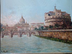 "The ""Glory of Rome"" painting by C.Proietto includes the Tiber River, the Castel Sant'Angelo, Ponte Sant'Angelo and Saint Peter's Basilica - Click for larger image (http://jamesmcgillis.com)"