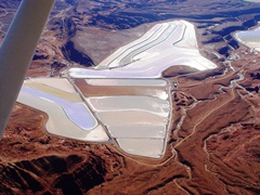 Aerial view of brine evaporation ponds at Potash, Utah - Click for larger image (http://jamesmcgillis.com)