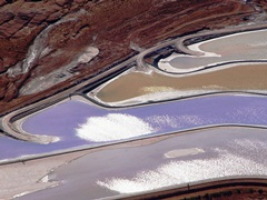 Close-up aerial view of the settling ponds at Potash, Utah - Click for larger image (http://jamesmcgillis.com)