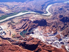 Aerial view or widespread environmental damage upstream from the Intrepid Potash Stockpile Dam near Moab, Utah - Click for larger image (http://jamesmcgillis.com)