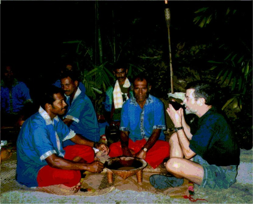 A traditional Kava Ceremony at Lomalagi Resort, Vanua Levu, Fiji, with author Jim McGillis partaking of the Kava - Click for larger image (http://jamesmcgillis.com)