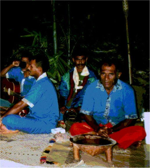 Traditional Fijian Kava Ceremony, at Lomalagi Resort, prior to delivery of the George Harrison Guitars - Click for larger image (https://jamesmcgillis.com)