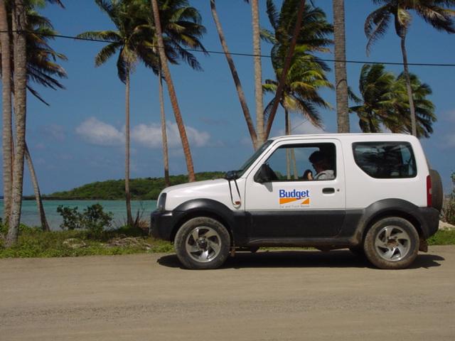 Suzuki Jimny Budget Monster Truck on the unpaved coastal highway, Vanua Levu, Fiji Islands in 2001 - Click for larger image (https://jamesmcgillis.com)