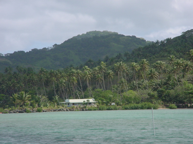 The Cousteau Dive Shop, Viewed from the Lagoon, Vanua Levu, Fiji, August 2001 - Click for larger image (https://jamesmcgillis.com)