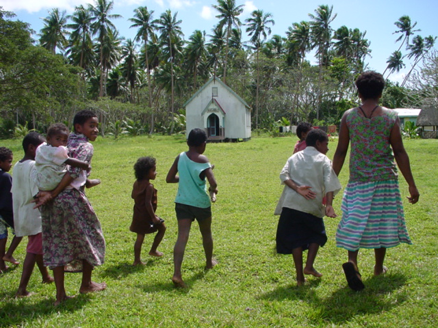Outside, young people; the children of Koro Levu Village, Vanua Levu, Fiji Islands, going to church - Click for larger image (http://jamesmcgillis.com)