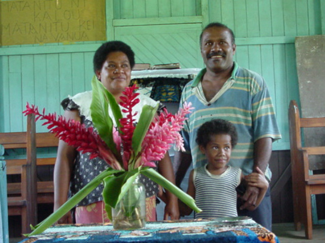 Pastor Temesia K. and Family, Koro Levu Village, Vanua Levu, Fiji Islands, August 2001 - Click for larger image (http://jamesmcgillis.com)