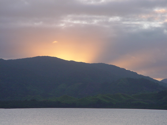 Sunset, over Natewa Bay, Vanua Levu, Fiji in August 2001 - Click for larger image (http://jamesmcgillis.com)