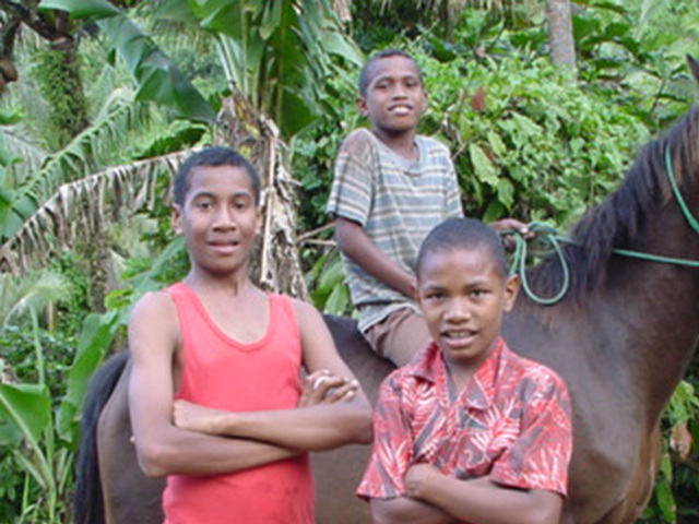 Young residents of a local village on Vanua Levu, Fiji, August 2001 - Click for larger image (https://jamesmcgillis.com)