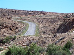 "A paved section of the ""Hovenweep Road"" climbs toward the sky - Click for larger image (http://jamesmcgillis.com)"