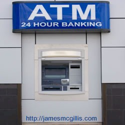 Typical unprotected outdoor bank Automatic Teller Machine (ATM  or Bank Cash Machine) https://jamesmcgillis.com
