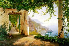 """Carl Frederik Aagaard's """"View of the Amalfi Coast"""", with a pergola to the left - Click for larger image (https://jamesmcgillis.com)"""
