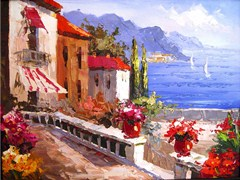 As with this contemporary image, many Amalfi Coast oil paintings are of unknown origin - Click for larger image (http://jamesmcgillis.com)
