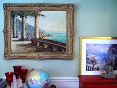 C Proietto Original oil painting of the Amalfi Coast, along with a print of a similar scene - Click for larger image (https://jamesmcgillis.com)