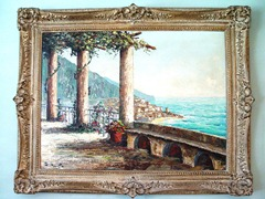 Amalfi Coast scene, painted by 20th century master, Costantino Proietto (1900-197?) - Click for larger image (http://jamesmcgillis.com)
