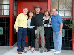 Classmates Bob Lovejoy, Carrie McCoy, James McGillis, Sharlean Magid and Phil Gieselman await the opening of The Pickle Room in September 2013 - Click for larger image (http://jamesmcgillis.com)