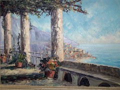 Bennett family C.Proietto painting of the Amalfi Coast - Click for larger image (https://jamesmcgillis.com)