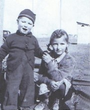 Bob Robertson (left) and his older sister Maurine pose near their home in Thompson Springs, Utah, circa 1940 - Click for larger image (http://jamesmcgillis.com)