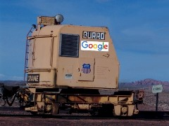This Union Pacific Model B-40 Burro Crane, with boom detached may have been used for early Google Pop Car prototype testing. It now sits abandoned near Moab, Utah - Click for larger image (http://jamesmcgillis.com)