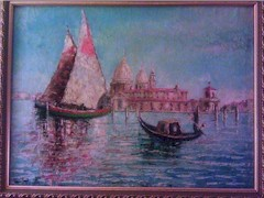 Original C.Proietto oil painting of sunset at Basilica di Santa Maria della Salute, in Venice, Italy - Click for larger image (http://jamesmcgillis.com)
