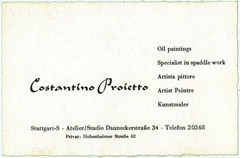 Business card of the artist Costantino Proietto, including his address in Stuttgart, Germany - Click for larger image (http://jamesmcgillis.com)