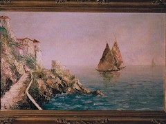 Romantic Italian coastal scene, an oil painting by the artist Costantino Proietto - Click for larger image (http://jamesmcgillis.com)