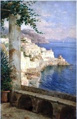 Scene from the terrace of the Convento di Amalfi Grand Hotel, by 20th century Italian artist, Costantino Proietto - Click for larger image (https://jamesmcgillis.com)