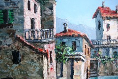 Detail of buildings in the C.Proietto lakeside scene, featuring the artist's impasto technique - Click for larger image (http://jamesmcgillis.com)