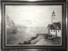 An early 1950's photo of a Costantino Proietto original oil painting depicting Lago Maggiore, Locarno - Click for larger image (http://jamesmcgillis.com)