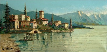 From the author's collection, a Costantino Proietto original oil painting of Ascona, Lago Maggiore, Switzerland - Click for larger image (http://jamesmcgillis.com)