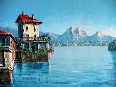 Close up view of a Costantino Proietto lakeside scene, with mountains in the background - Click for larger image (http://jamesmcgillis.com)