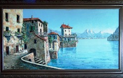Villa di Lago - Original oil painting of a Swiss or Italian lakeside scene by the artist Costantino Proietto - Click for larger image (http://jamesmcgillis.com)