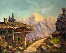 Costantino Proietto painting of a rural scene in the Dolomite Mountains, Northeastern Italy (Courtesy Jim McGillis) - Click for larger image (http:/jamesmcgillis.com)