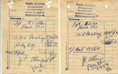 Original receipts for two C.Proietto original oil paintings sold to the Allen family in 1953 and 1954 - Click for larger image (http://jamesmcgillis.com)