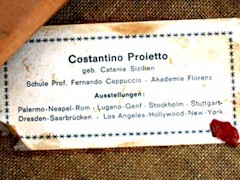 Printed Tag with a brief biography of the artist Costantino Proietto (1910-1979) - Click for larger image (http://jamesmcgillis.com)
