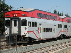 Metrolink sold eleven obsolete and dangerous Bombardier bi-level coaches to Caltrain, in Northern California, where they operate without benefit of a cab-car to cushion impact in a collision - Click for larger image (http://jamesmcgillis.com)