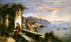 Original Oil painting of the Capuchin Convent at Amalfi by Carelli Consalvo (1818-1900) - Click for larger image (https://jamesmcgillis.com)
