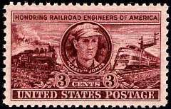 A three cent U.S. Postage stamp from 1953, honoring the legendary railroad engineer Casey Jones and all other fallen railroad engineers of America - Click for larger image (http://jamesmcgillis.com)