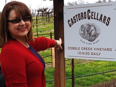 Spokesmodel Carrie McCoy points ot the Castoro Cellars hours of operation - Click for larger image (http://jamesmcgillis.com)
