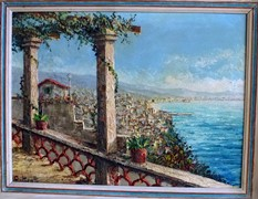 """Cattolica - Terraza Cafe Eden Roco Italia"" original oil painting by Costantino Proietto (1910-1979) - Click for larger image (http://jamesmcgillis.com)"