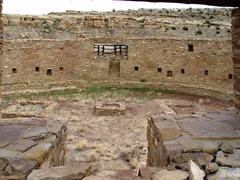 The reconstructed Great Kiva of Chetro Ketl once had a post and beam roof, providing shelter for hundreds of pre-Puebloan Indians around 1250 CE - Click for larger image (http://jamesmcgillis.com)