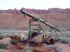 A portable hard-rock drilling rig similar to the type Charlie Steen used to discover the largest uranium claim in U.S. history lies derelict near the Moab Rim - Click for larger image (http://jamesmcgillis.com)