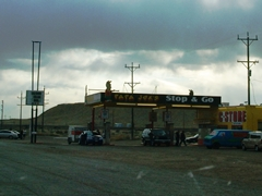 Papa Joe's Stop & Go at Crescent Junction, Grand County, Utah on a cloudy afternoon - Click for larger image (http://jamesmcgillis.com)